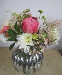 Coral. peaches & cream vase