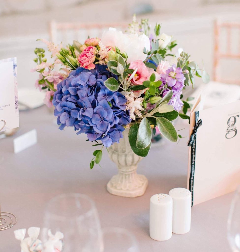 wedding table urn with flowers
