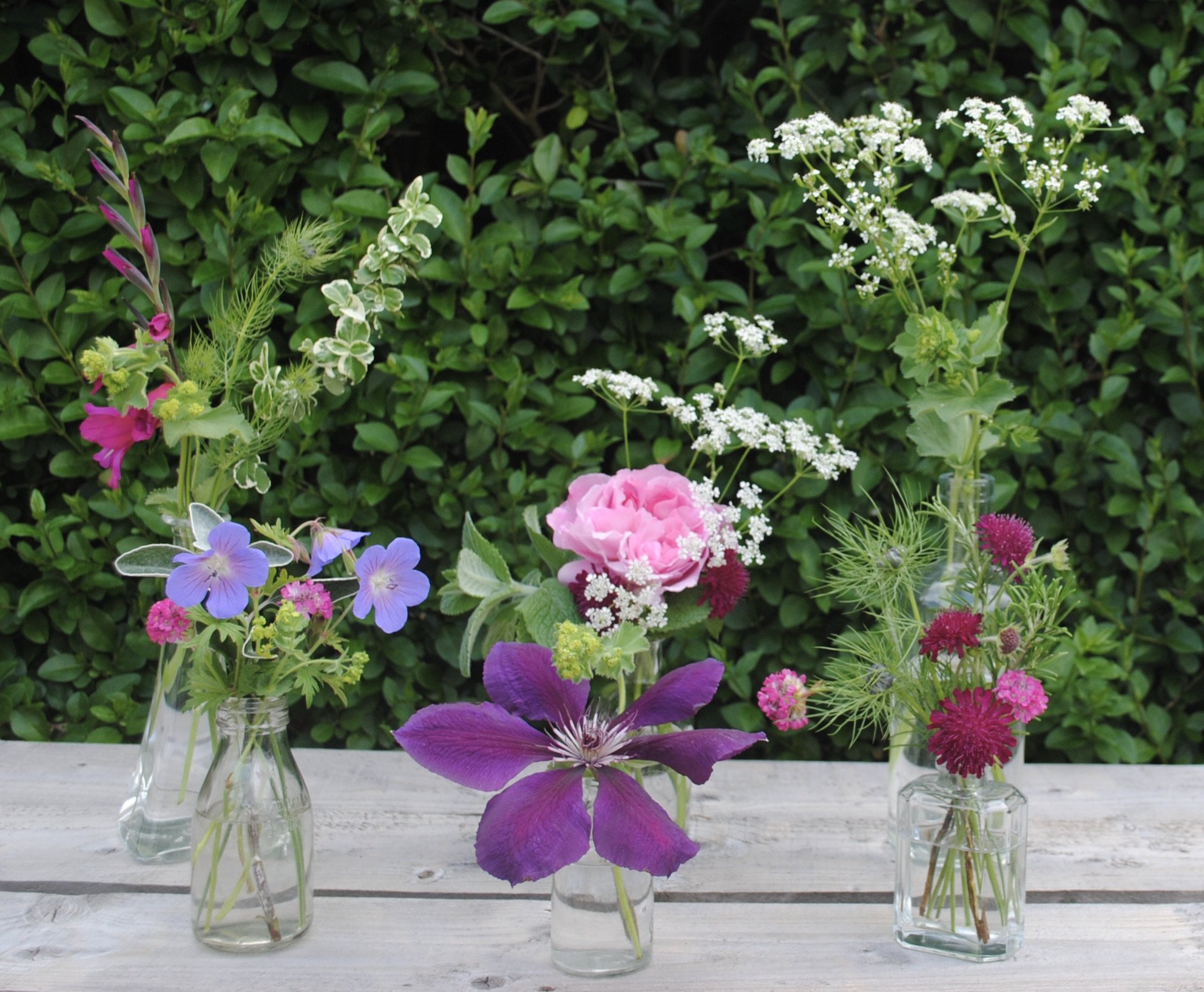grouped flower vases